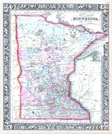Minnesota, World Atlas 1864 Mitchells New General Atlas